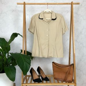 Vintage Double Rounded Collar Fitted Button Up Top